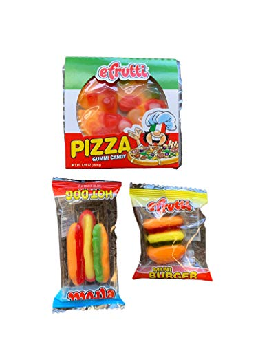 eFrutti Original Mini Gummi Snack Bundle - One Each of Hot Dog 0.32 Oz, Hamburger 0.32 Oz, and Pizza 0.55 Oz (3 Pack, 1 of Each)