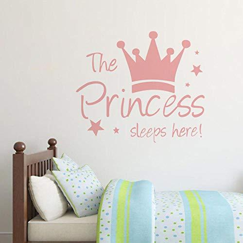 Muursticker cartoon stickercute met sterren, roze kroon, schattige muursticker voor kinderkamer meisjes meisjes meisjes kinderen baby room geschenk poeder_60 cm x 52 cm Cooldeerydm