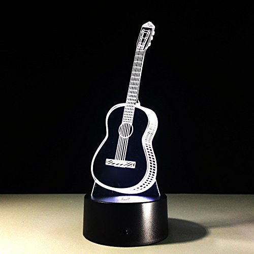 Guitar 3D Night Light 7 Color Change Remote Touch Musical Instruments 3D Led Table Desk Lamp Children'S Bedside Lampen Lamp Christmas Presentbirthday Present