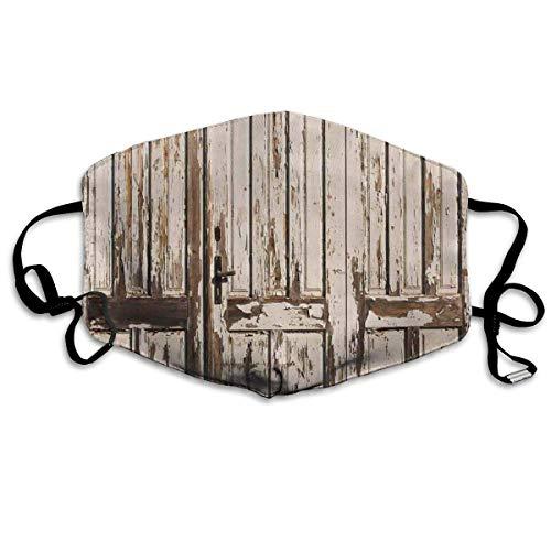 Vintage huis ingang met verticale oude planken verstoord rustiek hardhout ontwerp afdrukken mond Cover gezicht Cover voor volwassenen kinderen