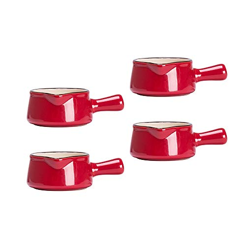 MDZF SWEET HOME Set of 4 Ceramic Creamer Jugs Mini Sauce Pitcher Milk Creamer Coffee Syrup Jar Server Dipping Bowls with Handle 1.8 Oz (Red)