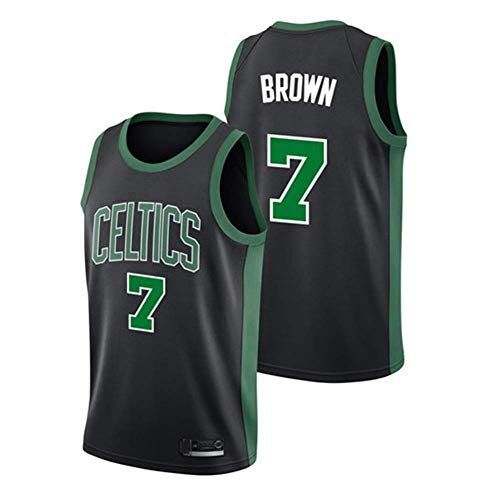 Wo nice Männer Basketball-Trikots, Boston Celtics # 7 Jaylen Brown NBA Lose Casual Weste Sleeveless Sport T-Shirt Tops Basketball Uniformen,Schwarz,XXL(185~190CM)
