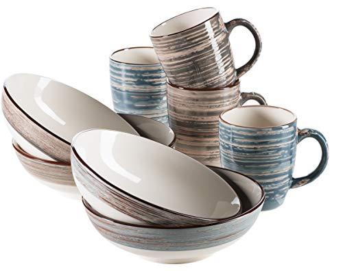 Mäser 931392, Serie Duole, 4 Kaffeebecher und 4 große Müslischalen im Set, Shabby Chic Vintage Design, Keramik, Blau / Braun