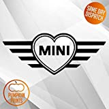 Pumpkiin Prints Mini adhesivo de corazón John Cooper, vinilo, Mini, Cooper Works, JCW, S, One, Countryman