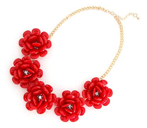 XXL Sommer Statement-Halskette Collier Blumen in der Farbe rot Modeschmuck Schmuck Statementkette