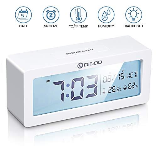 Digital Wecker, DIGOO Alarm Clock Digitaluhr Tischuhr Snooze uhr mit Thermo-Hygrometer, Frische Farben große LCD-Ziffern Hintergrundbeleuchtung Batteriebetrieben Energieeffizient ohne ticken, weiß