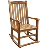 MISC Solid Teak Wood Rocking Chair Brown Classic Hand Waxed Weather Resistant