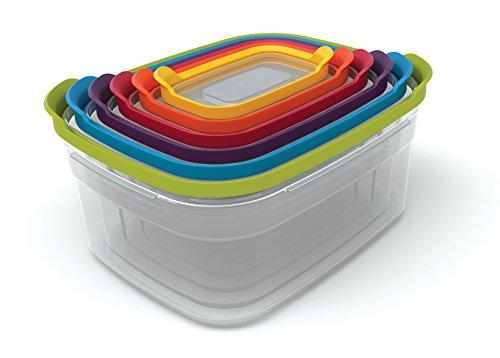Joseph Joseph Conjunto de recipientes de plástico para armazenamento de alimentos com tampas herméticas seguras para micro-ondas, 12 peças, multicolorido