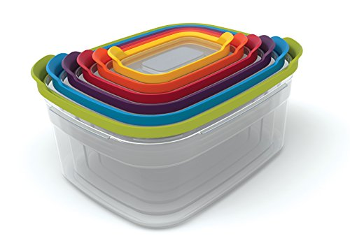 Joseph Joseph Nest Plastic Food Storage Containers Set with Lids Airtight Microwave Safe, 12-Piece, Multi-color