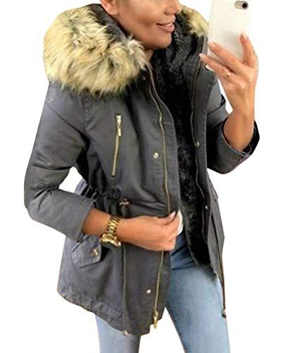 Minetom Damen Warm Verdicken Winterjacke Mantel Mit Plüsch Kapuze Winddicht Tasche Reißverschluss Kurze Parka Jacke Outerwear Top Dunkelgrau 40