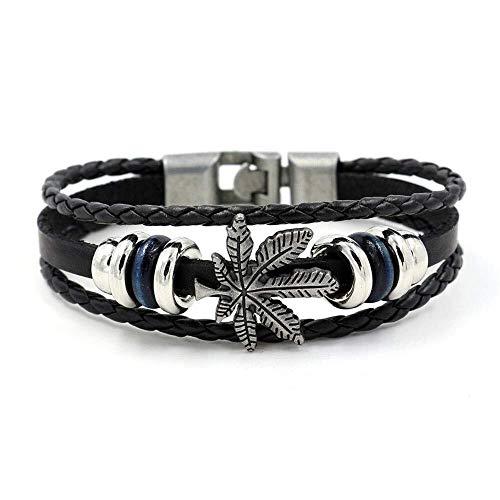 LXDDJsl Pulsera de cuero para hombres y mujeres, pulsera de cuero vintage, pulsera punk rock, motero, correa ancha (color: negro)
