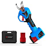 KOMOK Cordless Electric Pruning Shears with LED, 2 Rechargeable Battery Powered Tree Trimmers Fruit Tree Branches Cutter, 25mm/1' Cutting Diameter, 6-8 Working Hours Good for Arthritis Hands