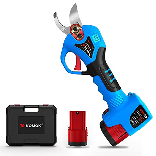 KOMOK Cordless Electric Pruning Shears with LED, 2 Rechargeable Battery Powered Tree Trimmers Fruit Tree Branches Cutter, 25mm 1  Cutting Diameter, 6-8 Working Hours Good for Arthritis Hands