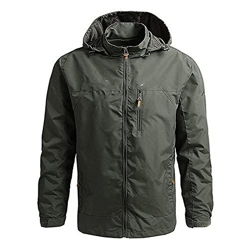 Chaqueta impermeable para hombre con capucha de los hombres al aire libre Rock Climbing Windbreaker, verde, XXXXL