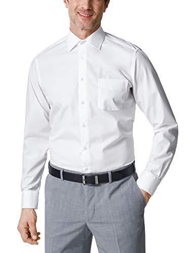Walbusch Herren Hemd Bügelfrei Kent einfarbig Weiß 47/48 - Langarm extra kurz