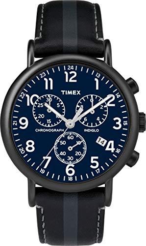 Timex Weekender 40mm Men Chronograph Black Leather Strap Watch TWF3C8400