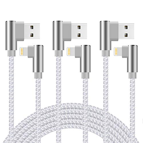 6ft 90 Degree Charging Cable Right Angle 3 Pack Nylon Braided Charger Cord (Silver White, 6 Feet)