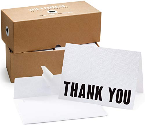 100 Letterpress Thank You Cards and Self Seal Envelopes. Perfect for Graduation, Business, Weddings - Opie's Paper Company (Black & White)