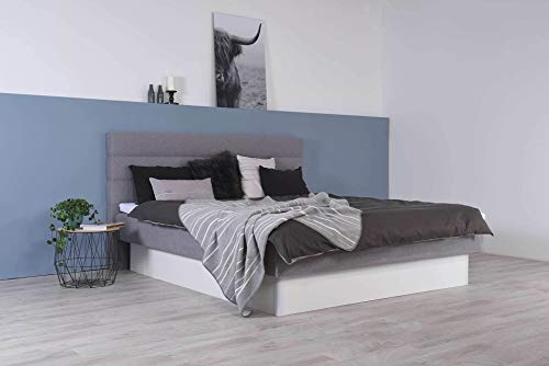 Wasserbett mit geschlossenem Sockel + Topper + Wandpaneel Largo + Laken (200 x 220 cm, Starke Beruhigung)