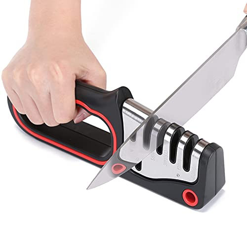 E-King Afilador de Cuchillos, 4 en 1 Afilador Cuchillos Profesional, 4 Etapas Knife Sharpener Afiladores Manuales Base de Acero Inoxidable Antideslizante Afilador Negro. para Cuchillos y Tijeras