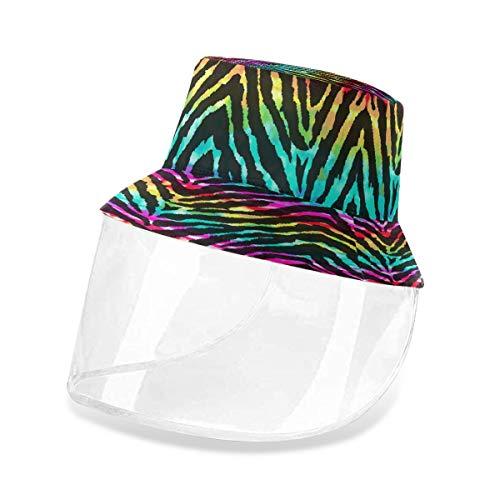 ALARGE - Gorro protector para pescador, diseño geométrico de tigre de arco iris, antipolvo, sol, UV, con máscara de protección facial extraíble para hombres y mujeres al aire libre