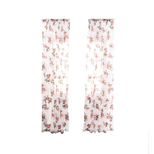 VOSAREA 1 pc semi-shading rose flower window voile curtains for bedroom living room-100x200cm(pink)