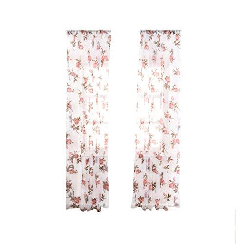 LIOOBO 1 Stück Halbschatten Rose Blume Fenster Voile Vorhänge für Schlafzimmer Wohnzimmer-100x200 cm (Rosa)
