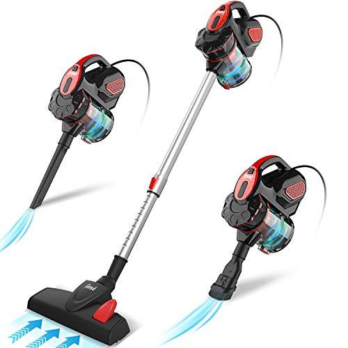 INSE Aspirador con Cable, 3 En 1 Vertical y de Mano, Hogar Escopa Aspiradora, Poderosa Succión 18Kpa, 600W, 1L, Hepa Filtro Lavable, 3 Cepillos Ajustable