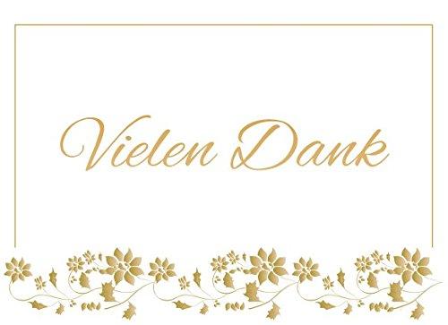 Danksagungskarten ohne Innentext Motiv vielen Dank Gold 10 Klappkarten DIN A6 Querformat mit weißen Umschlägen im Set diverse Anlässe Hochzeit Geburtstag Dankeskarten Dankeschön Karten Danke sagen K34