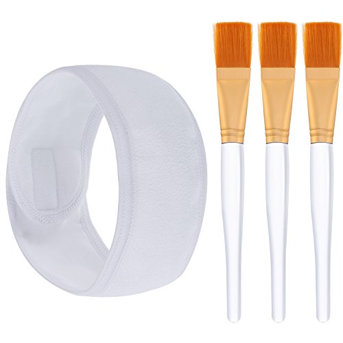 Hotop 3 Pièces Brosse de Masque Facial Outil Applicateur Cosmétique avec Bandeau Spa pour Masque Facial Besoins de Bricolage de Masque d'Oeil