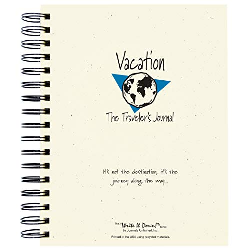 """Journals Unlimited """"Write it Down!"""" Series Guided Journal, Vacation, The Traveler's Journal (Globe), with a Kraft Hard Cover, Made of Recycled Materials, 7.5�x9� Photo #5"""