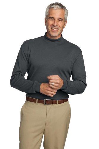 Port Authority Men's Interlock Knit Mock Turtleneck XL Steel Grey