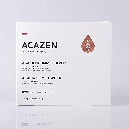 ACAZEN Acacia Gum Powder - 150g (30 Sachets of 5g) – Food Supplement with high Fibre- 100% Plant-Based – Manufactured in Germany – Vegan, Gluten-Free, Natural