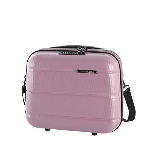 Rada ABS/13 Kosmetikkoffer Beautycase TSA-Schloss, Kulturbeutel - Hartschale, Waschtasche für Frauen und Herren, Wasserabweisend, mit Schultergurt, auf Trolley aufsteckbar (rosa)
