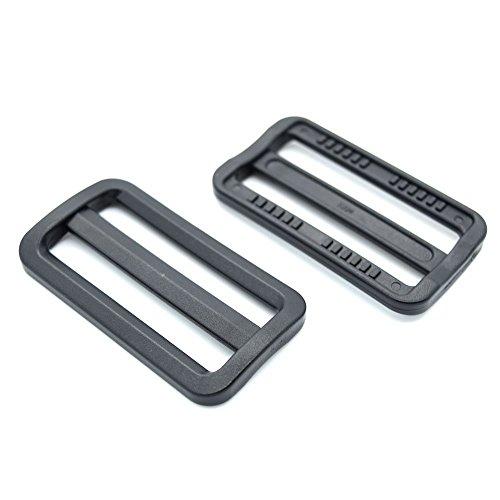 """2"""" Plastic Curve Tri-Glide Triglides Slider Adjustable Buckle Black 10 Pack"""