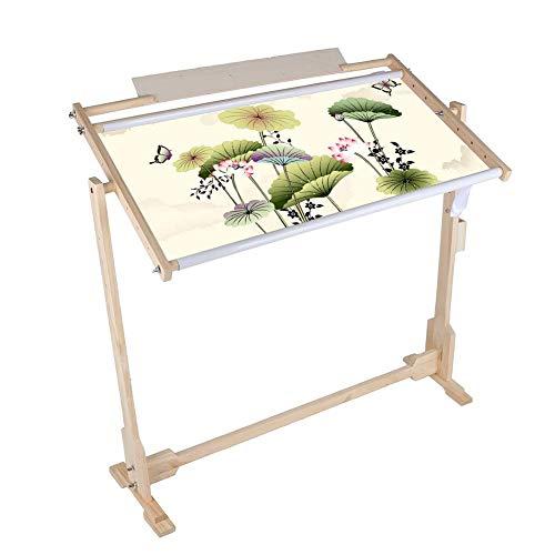 Soporte para cuadro bordado de bastidor de suelo con clip de madera de pino, punto de cruz, marco de suelo para bordado, quilting, bordado, pintura sobre seda, ajustable en altura, 50 cm
