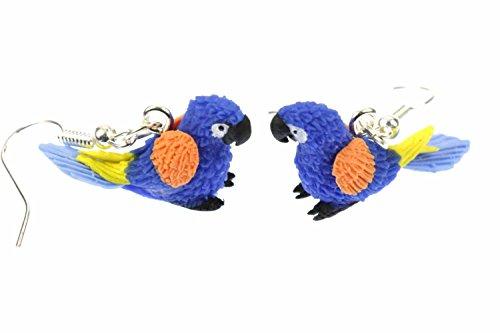 Miniblings pappagallo orecchini pappagallo orecchini di uccelli colorati pappagalli ara blu - Gioielli fatto a mano ho Orecchini in argento