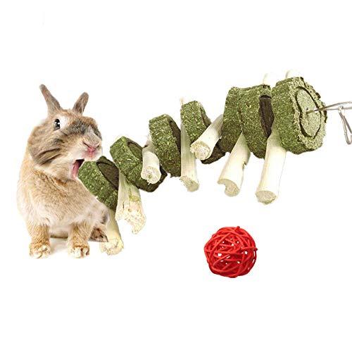 Houdao Kaninchen Spielzeug Hamster Zubehör mit Natürlichem Süßem Bambus und Grass Cake Mit Einem Kleinen Ball Nager Zubehör für Kaninchen,Hamster,Meerschweinchen,Hase,Chinchilla,Eichhörnchen