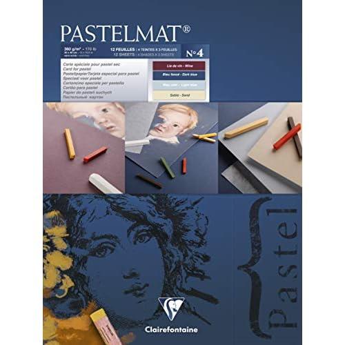 Clairefontaine Pastelmat Pastel Card Pad No 4, 360 g, 30 x 40 cm, 12 fogli, colori assortiti
