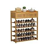 QIFFIY Zapatero de bambú de varias capas con cajón estante para zapatos económico para puerta de casa, zapatero simple para zapatos, zapatero (tamaño: 5 niveles)