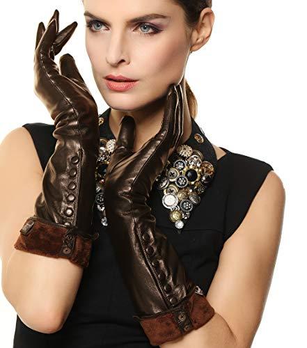 Women's Touchscreen Long Elbow Length Winter Thick Fleece Lined Gloves Buttons Touchscreen 3