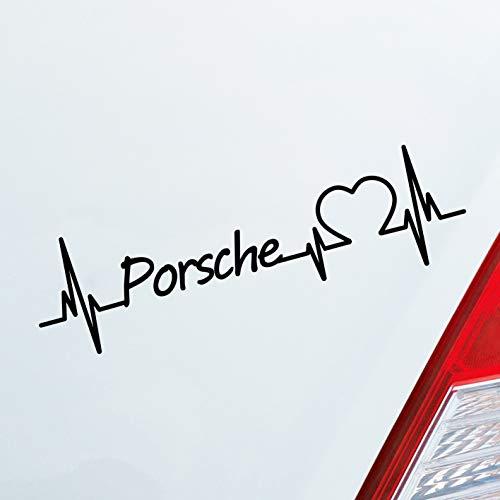 Auto Aufkleber in deiner Wunschfarbe Porsche Herz Puls Automarke Marke Car Sticker Liebe Love ca. 19 x 5 cm Autoaufkleber Sticker