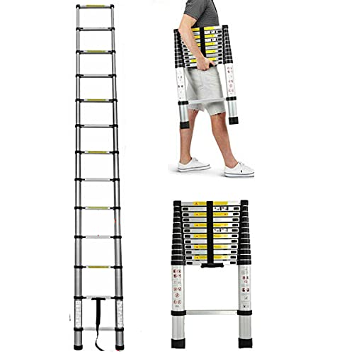 Telescopic Ladder 3.8M/12.5Ft, EN131 Telescoping Aluminum Telescopic Extension Ladder, Portable Multi-Purpose Tall Loft Ladder with Safety Lock Anti-Slip Rubber, Up to 330lbs/150kg