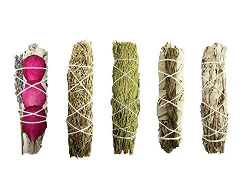 Smudge Sticks Sampler - 1 White Sage with Rose and Lavender, 1 Rosemary, 1 Cedar, 1 Sweetgrass White Sage and 1 Black Sage