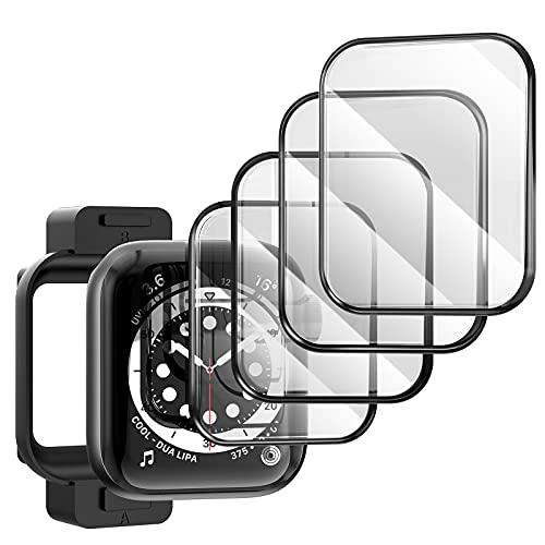 TAURI (4 Pack Pantalla Protector para Apple Watch 44mm Series 6/5/4/SE, 3D Curvo Bordes Completo Cobertura HD Protectora Película para iWatch Series 6/5/4/SE 44mm[Sin Burbujas][Fácil Instalación]
