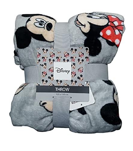 Disney Mickey und Minnie Mouse Tagesdecke, superweich, 120 x 150 cm, Grau