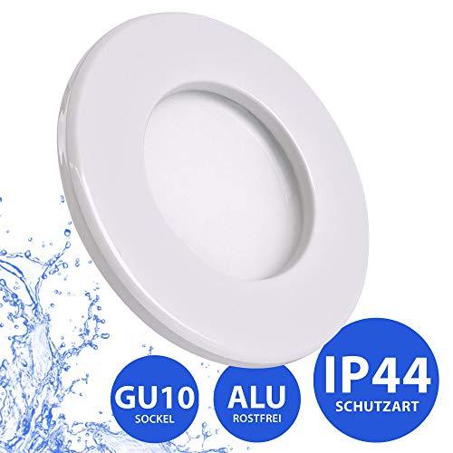 Bad Einbaustrahler IP44 | Einbaustrahler Feuchtraum | Badezimmer | Bad | Dusche | Suana | inkl. GU10 Fassung | Rostfrei | Einbauspot | Deckeneinbaustrahler | rund | weiß