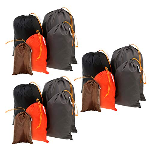 F Fityle 15Pack Lightweight Nylon Compression Stuff Sack Bag Waterproof Outdoor Camping Small Sleeping Bag Black Drawstring Bag, 5 Sizes