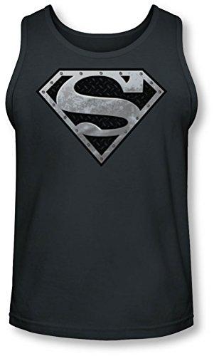 Superman - - Super Metallic Shield Tank-Top pour hommes, Medium, Charcoal