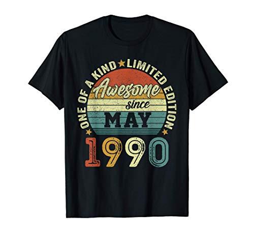 Nacido En Mayo 1990 Regalo Hombre 31 Años Cumpleaños Mujer Camiseta